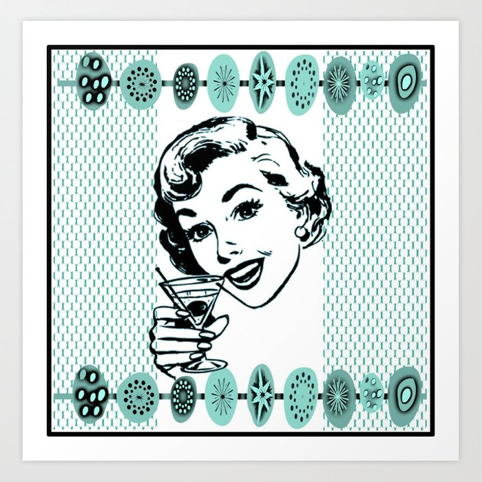 Mid-Century Modern Art Cocktail Teal Art Print