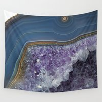 geode Wall Tapestries featuring Amethyst Geode Agate by CAROL HU