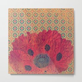 Poppies Deluxe:  Hot red and pink poppy flower and tiles with blue and gold details Metal Print