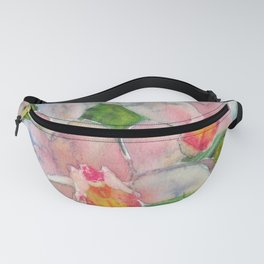 Pastel Colors Orchid Original Watercolor Painting Floral Art Garden Painting Abstract Flower Fanny Pack