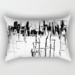 Black and White Cityscape Rectangular Pillow