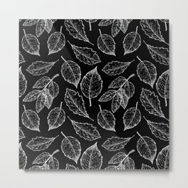 Autumn Leaves Black & White Pattern Metal Print