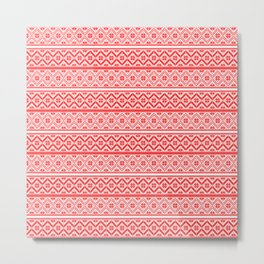 Red and White Classic Nordic Christmas Pattern Metal Print