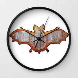 Pink Barn Board Halloween Bat Decoration In A Retro Style Wall Clock
