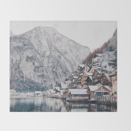 VILLAGE - COAST - MOUNTAINS - SNOW - PHOTOGRAPHY Throw Blanket