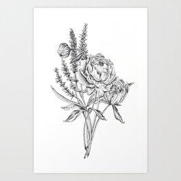 Flowers in dots Art Print