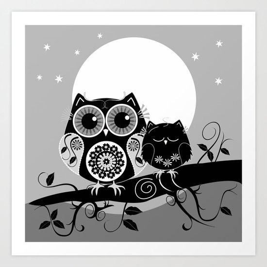 B&W Flower power Owl and her Sleepy Baby Art Print