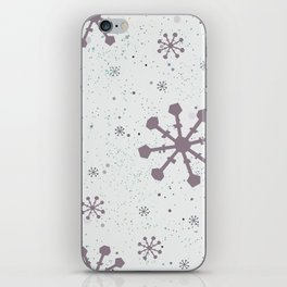 Winter Pattern with subtle snowflakes on white background with tiny dots iPhone Skin