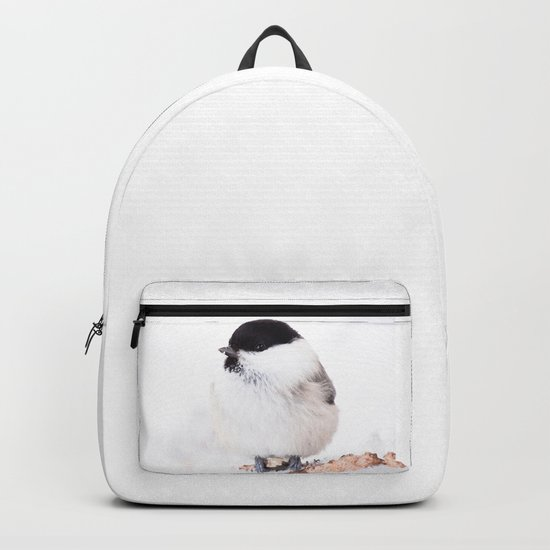 Cute Willow Tit sitting in the snow #decor #society6 #buyart by pivivikstrm