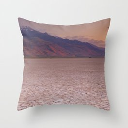 II - Cracked earth in remote Alvord Desert, Oregon, USA at sunrise Throw Pillow