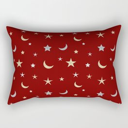 Gold and silver moon and star pattern on red background Rectangular Pillow