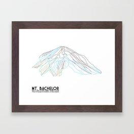 Mt. Bachelor, OR - Minimalist Trail Art Framed Art Print