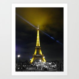saturday night Eiffel tower Paris by night Art Print