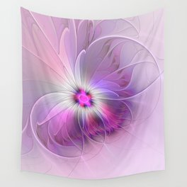 Abstract Flower With Pink And Purple Fractal Wall Tapestry