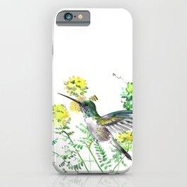 mmingbird design green yew Hummingbird and Yellow Flowers iPhone Case