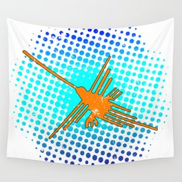Distressed Nazca Lines Hummingbird On Gradient Blue Galaxy Wall Tapestry