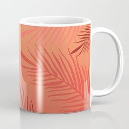 Living coral palm leaves Coffee Mug