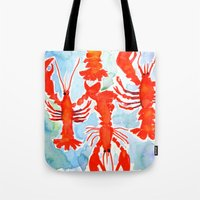 lobster Tote Bags featuring Lobster by Julie Lehite
