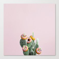 Donut Cactus In Bloom Canvas Print