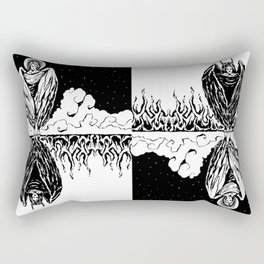 Duality: Angel/Devil Tiling (BW) Rectangular Pillow
