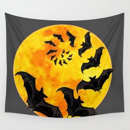 HALLOWEEN BAT INFESTED HAUNTED MOON ART DESIGN Wall Tapestry