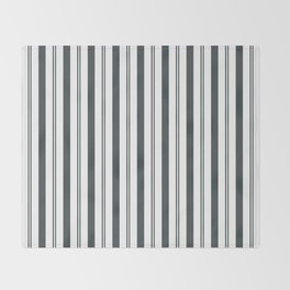 PPG Night Watch Pewter Green & White Wide & Narrow Vertical Lines Stripe Pattern Throw Blanket