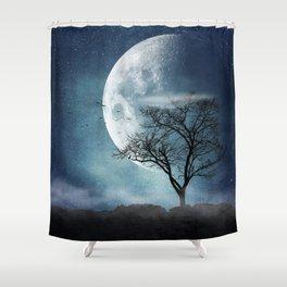 Moon Blues Shower Curtain