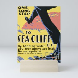 sea cliff vintage poster Mini Art Print