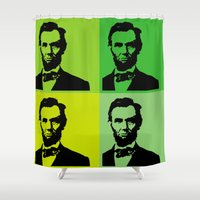 lincoln Shower Curtains featuring Lincoln by Liam Schultz