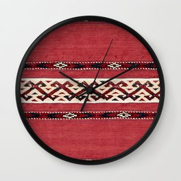 Triangle Stripe Kilim 19th Century Authentic Colorful Red Black White Vintage Patterns Wall Clock