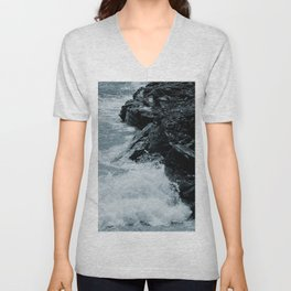 Crashing Waves On Rocks Unisex V-Neck