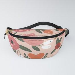 Seamless Pink Pastel Floral Pattern Salmon Red Orange Fanny Pack