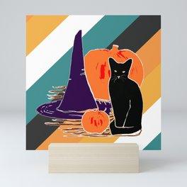 Witch Cat Pumpkin in Candy Corn Mini Art Print