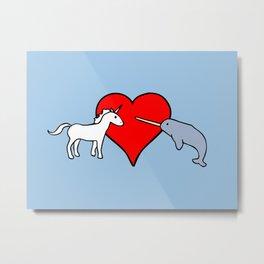 Unicorn Loves Rhino Metal Print