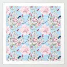 Bluebirds and Watercolor roses on pale blue with white French script Art Print