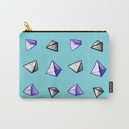Blue Geometric Watercolor Pyramid Pattern Carry-All Pouch