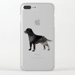 Labrador Retriever Black Fluid Abstract Art - Lab Image Clear iPhone Case