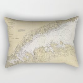 Vintage Map of The Long Island Sound (1934) Rectangular Pillow