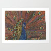 psychadelic Art Prints featuring Psychadelic Peacock  by wyattxavier