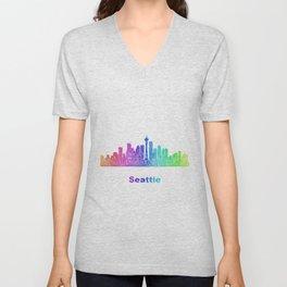 Rainbow Seattle skyline Unisex V-Neck