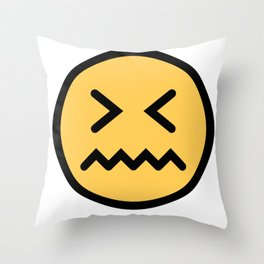 Smiley Face   Squeezing Look   Annoyed Face Throw Pillow