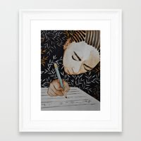 writing Framed Art Prints featuring Writing by Kristina Marie
