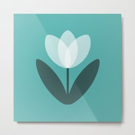 Tulip in Aqua Metal Print