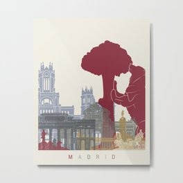 Madrid skyline poster Metal Print