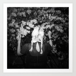 Truly Madly Deeply Holga double exposure of girl with flowers Art Print