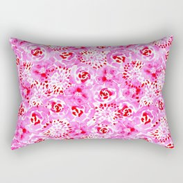 Watercolor Bouquet in Rose Red Pink Rectangular Pillow