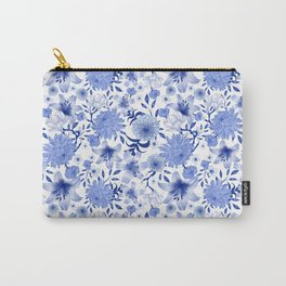 Blue and white intricate floral pattern Carry-All Pouch