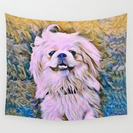 pekingese at the park Wall Tapestry