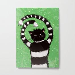 Evil Kitty Chasing Flies In Green Leaves Cat Lover Metal Print