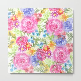watercolor blooms Metal Print